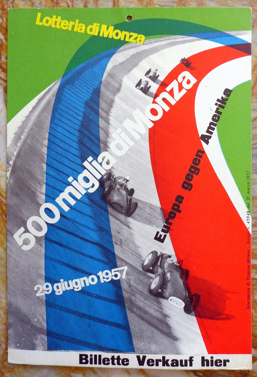 1957 Lotteria di Monza window card
