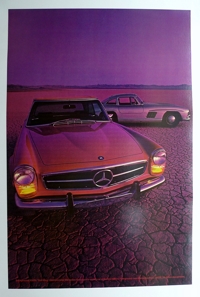 Mercedes 280 SL and 300 SL Gullwing original vintage auto showroom advertising poster