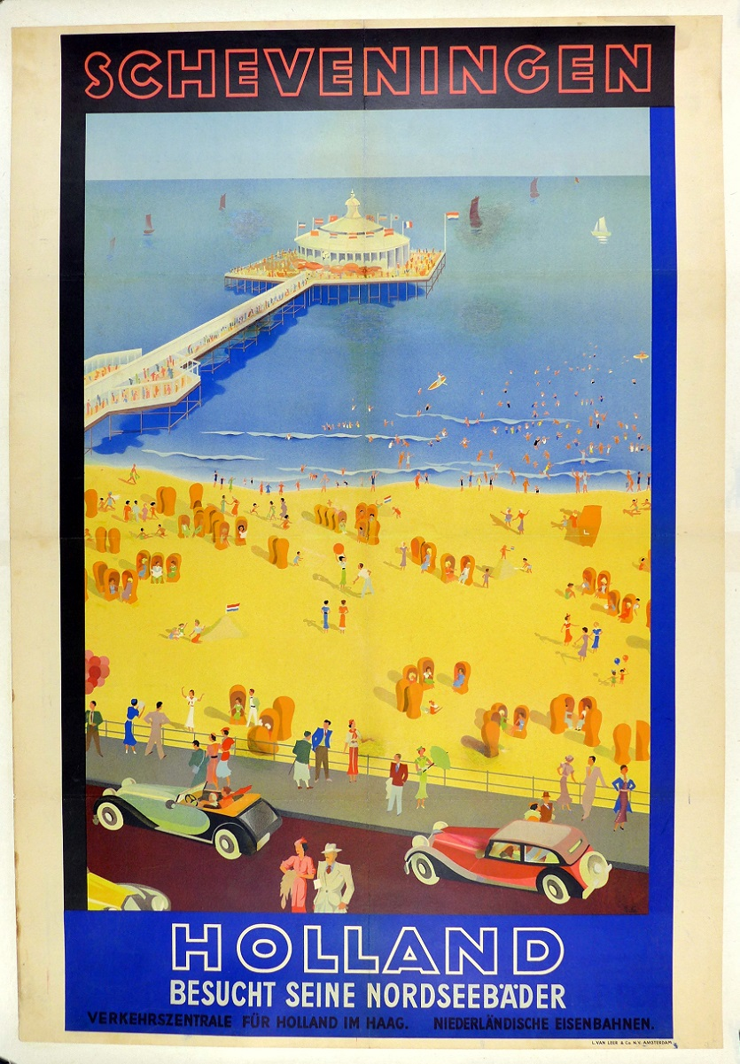 Holland Scheveningen Dutch travel poster original vintage 1930's