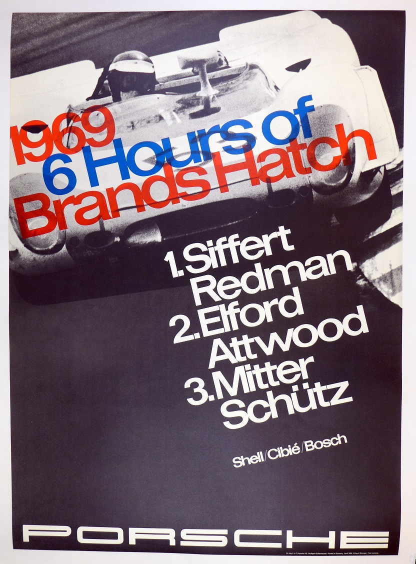 1969 Brands Hatch original vintage Porsche racing commemorative poster