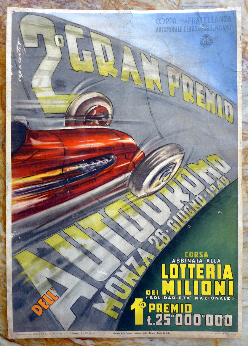 1949 Gran Premio Monza original vintage auto race event window card Codognato