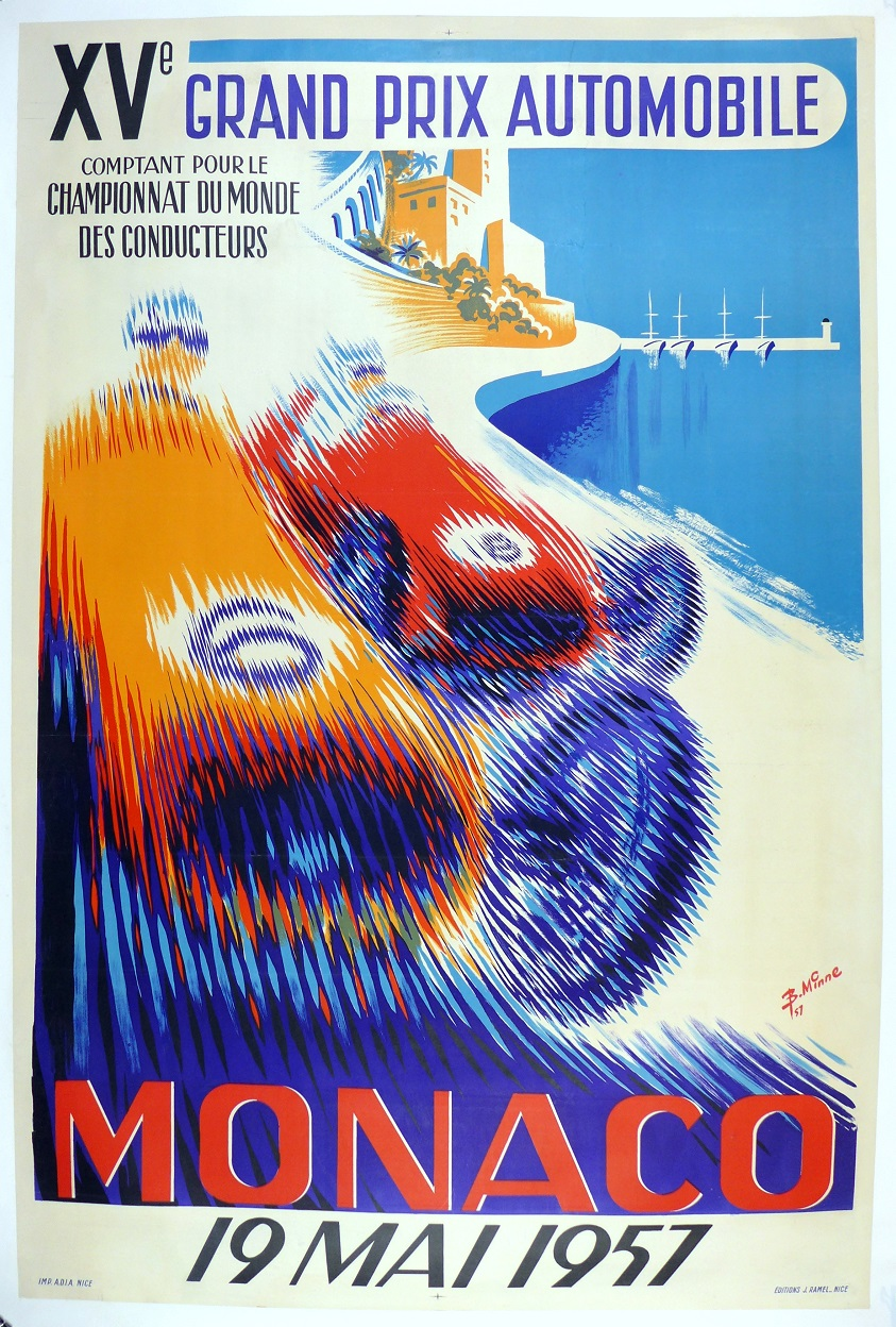 1957 Grand Prix Monaco original vintage auto race event poster Minne