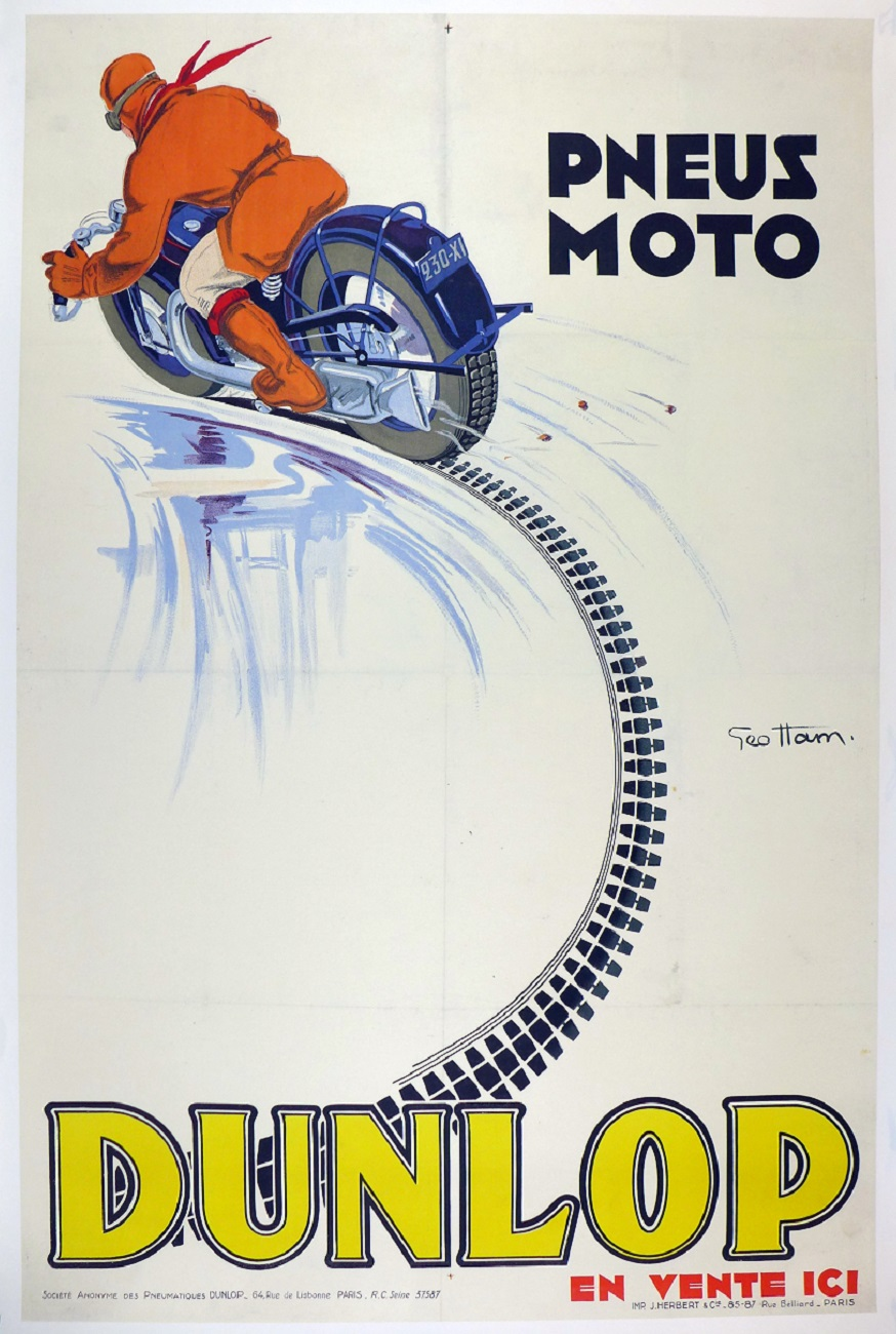 Dunlop motorcycle original vintage advertising poster motorcycle