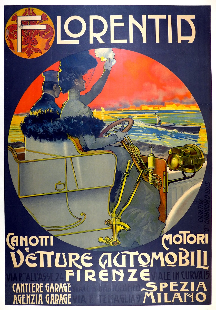 Florentia original vintage auto advertising poster