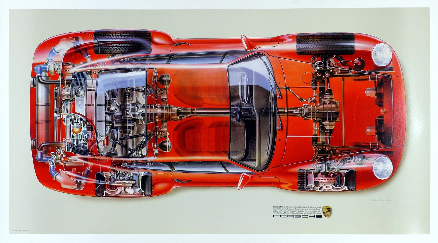 959, Porsche Cars North America, showroom poster