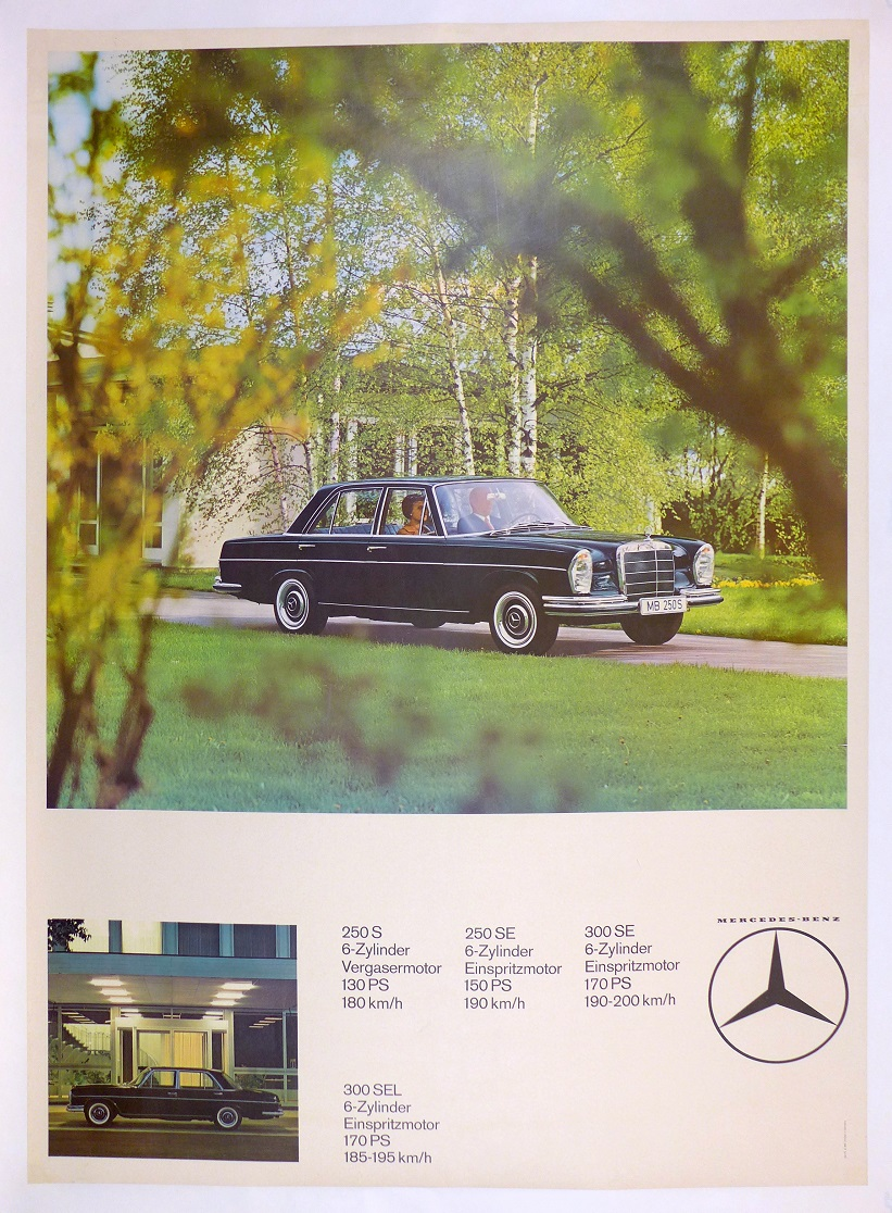 Mercedes 300 SEL, 300 SE, 250 SE, 250 S original vintage showroom advertising poster