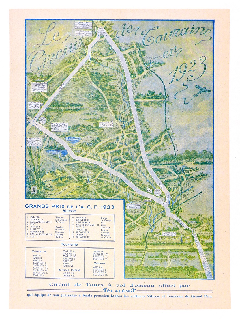 1923 Grand Prix ACF original vintage auto race event route map
