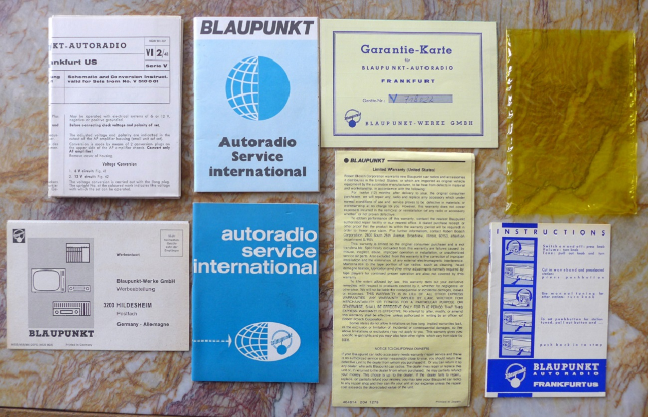 Blaupunkt Frankfurt US radio instructions, etc