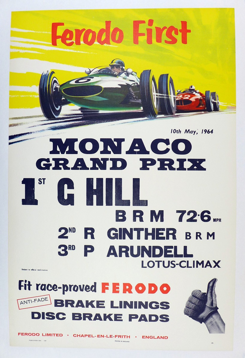 Monaco Grand Prix original vintage auto race commemorative poster Graham Hill