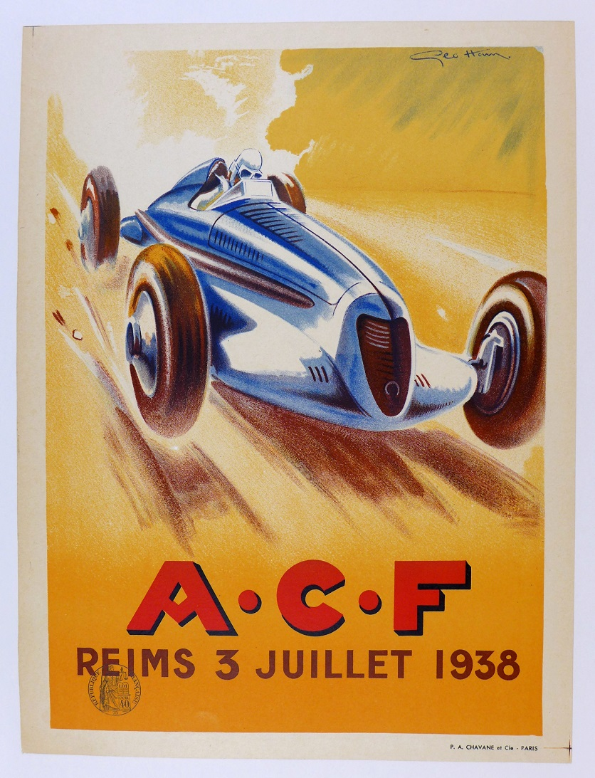 ACF, 1938. Original event poster by Geo Ham for Auto Club de France, Reims.