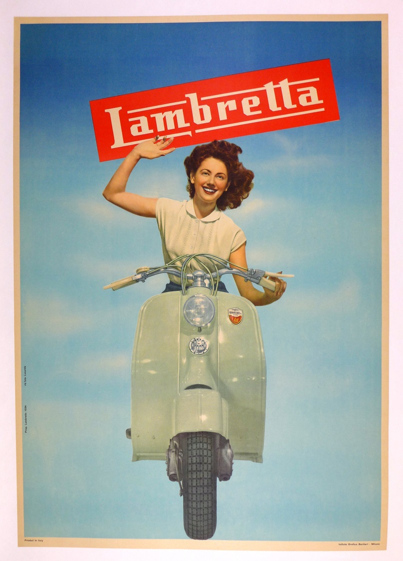 Lambretta original vintage motor scooter advertising poster