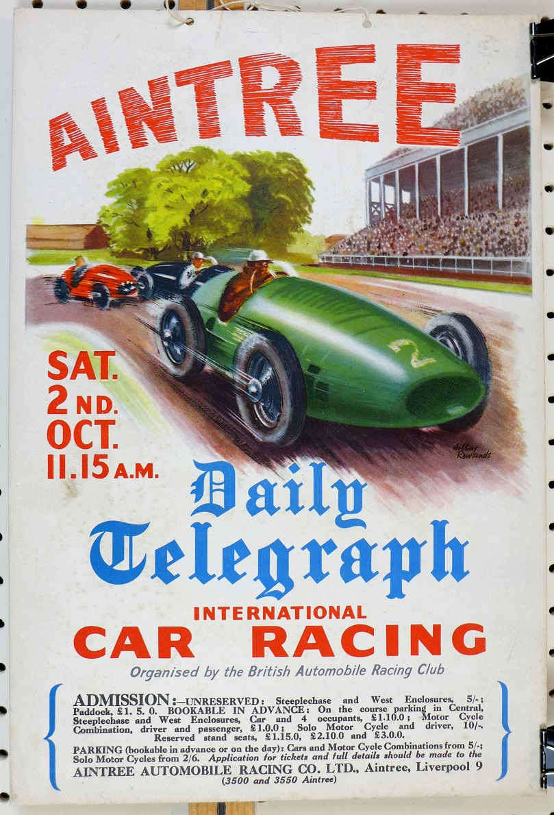 Aintree 1954 original vintage auto race event window card