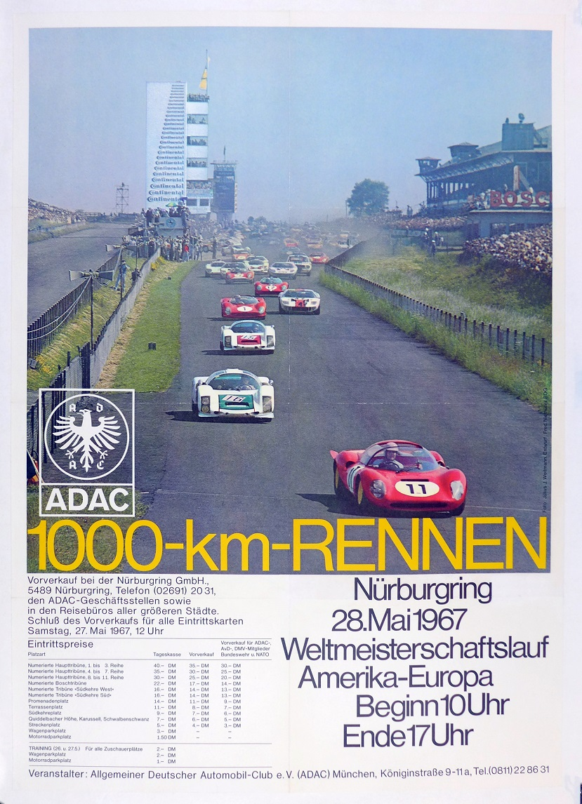 Nurburgring 1000 Km 1967 event poster