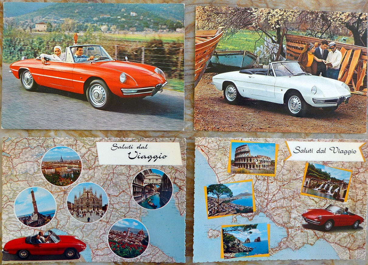 Alfa Romeo Duetto Spider 1600 Factory original vintage post cards