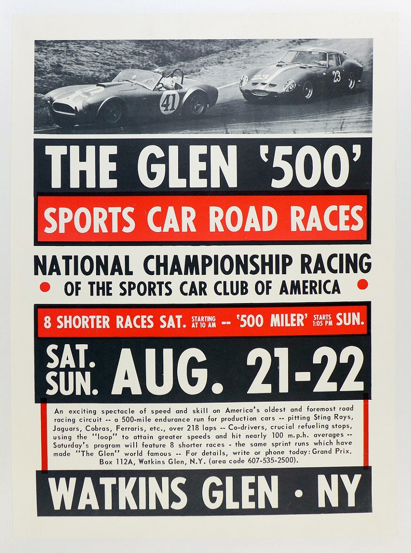 The Glen 500 race event poster 1964