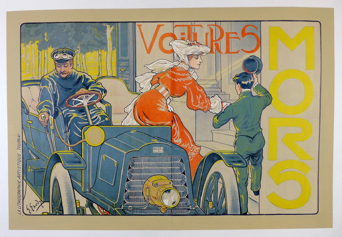 MORS original vintage auto advertising poster Gaudy