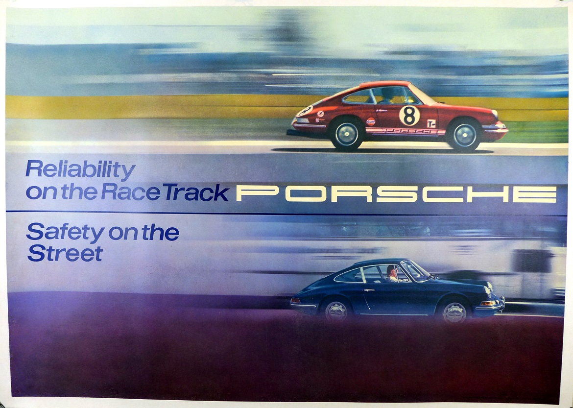 Reliability/Safety original vintage Porsche showroom poster
