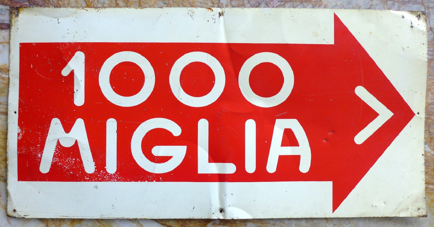 Mille Miglia original vintage metal sign