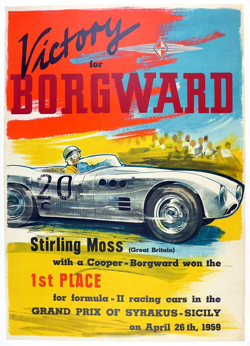 Victory for Borgward 1959 Stirling Moss Syrakus, Sicily original vintage auto racing commemorative poster