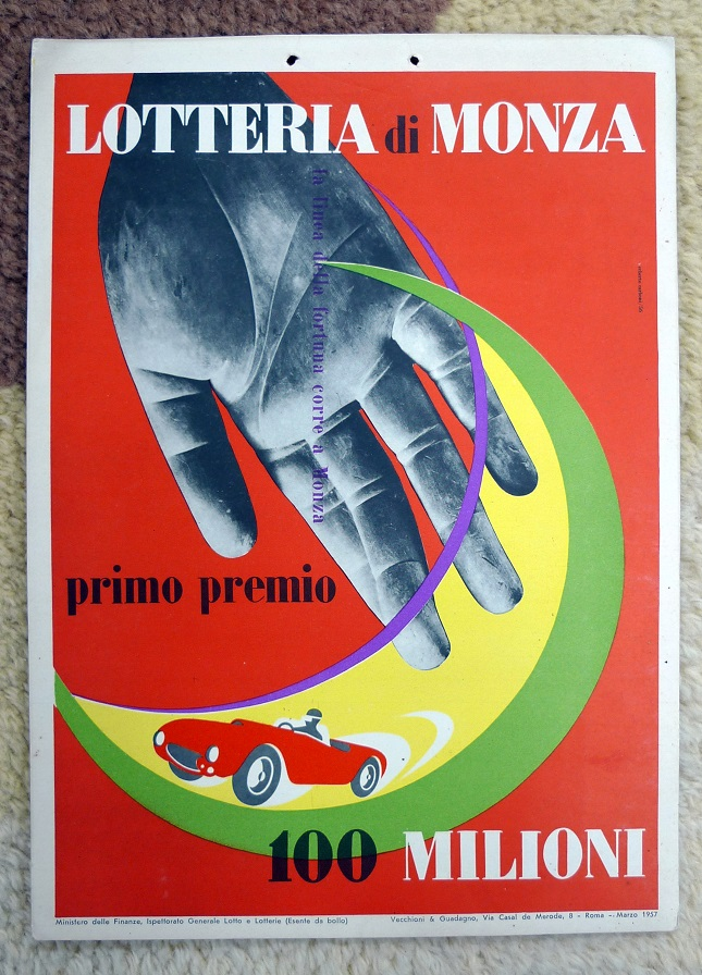 1957 Lotteria di Monza original vintage auto race event window card
