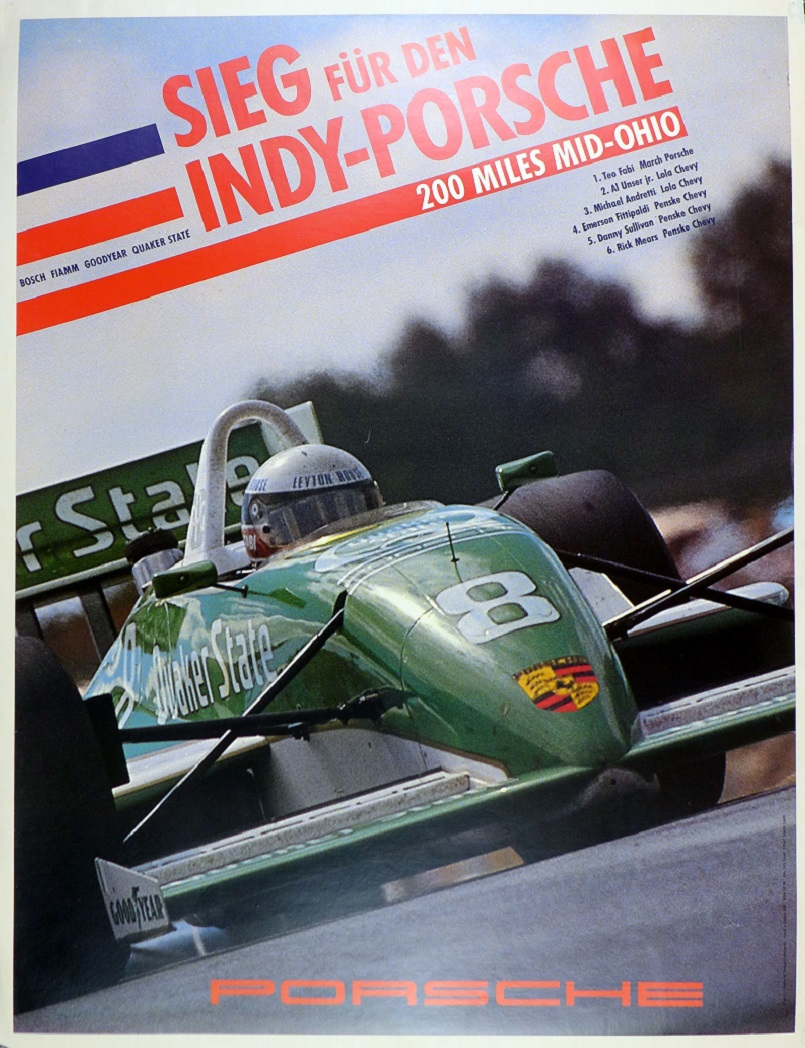 Indy Porsche, 1989, Factory racing poster