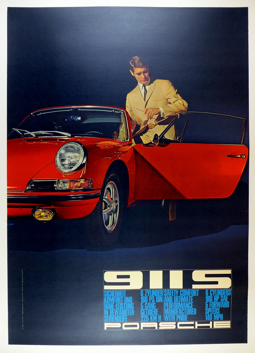 911S original vintage Porsche Factory advertising poster