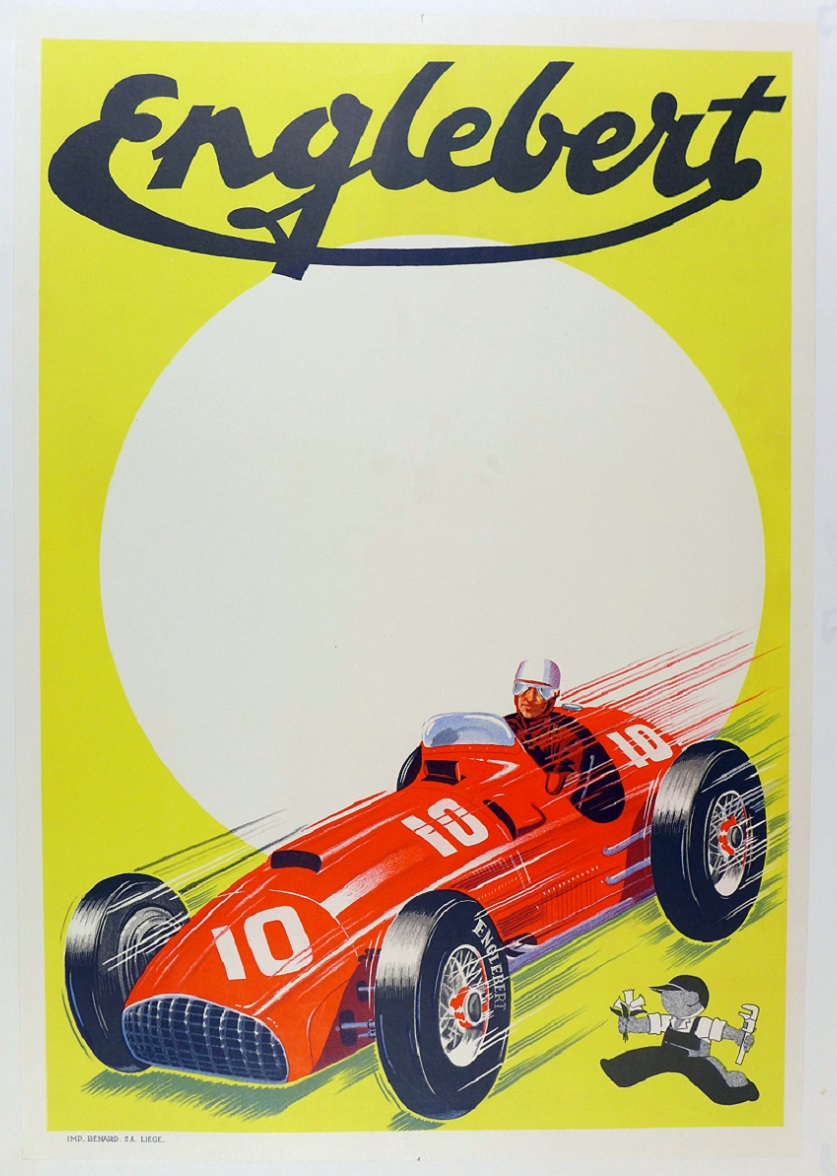 Englebert 1950's original vintage auto race commemorative poster