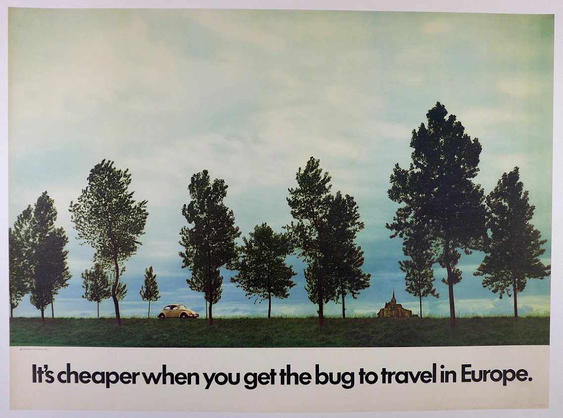 VW It's cheaper when you get the bug to travel to Europe original vintage advertising showroom poster beetle