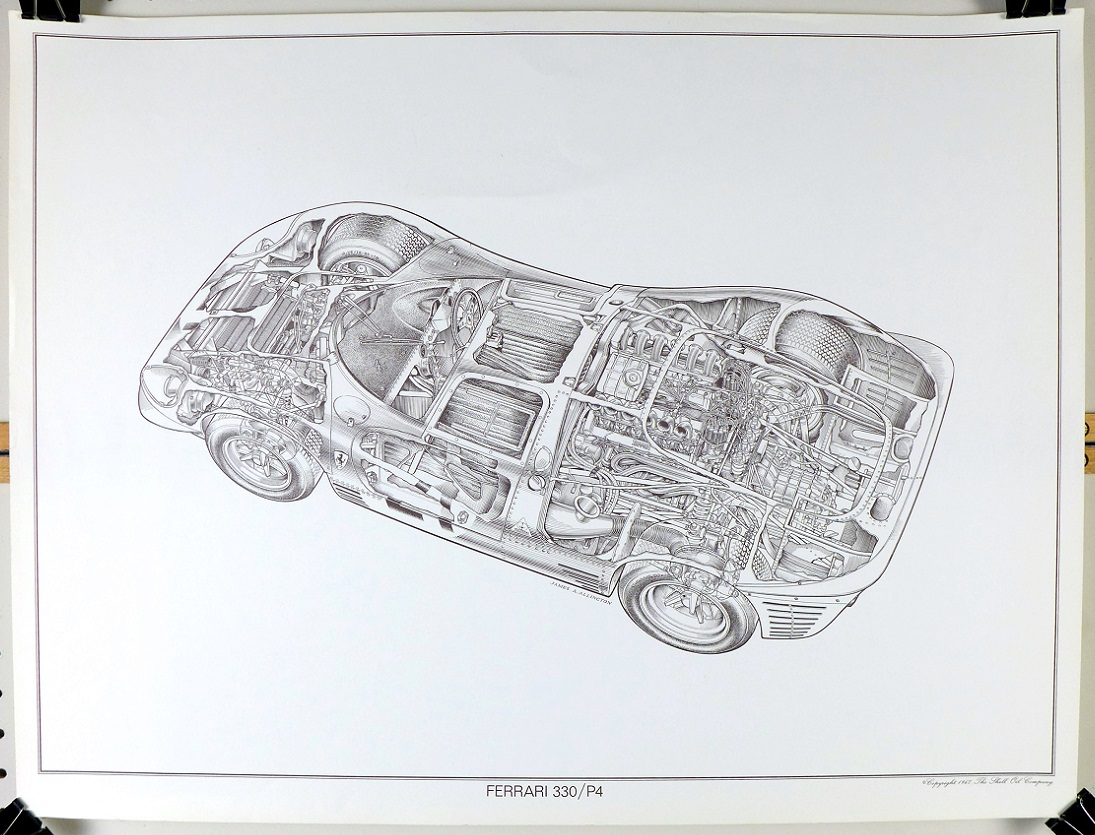 Ferrari 330/P4 original vintage cut-a-way drawing Ferrari James Allington