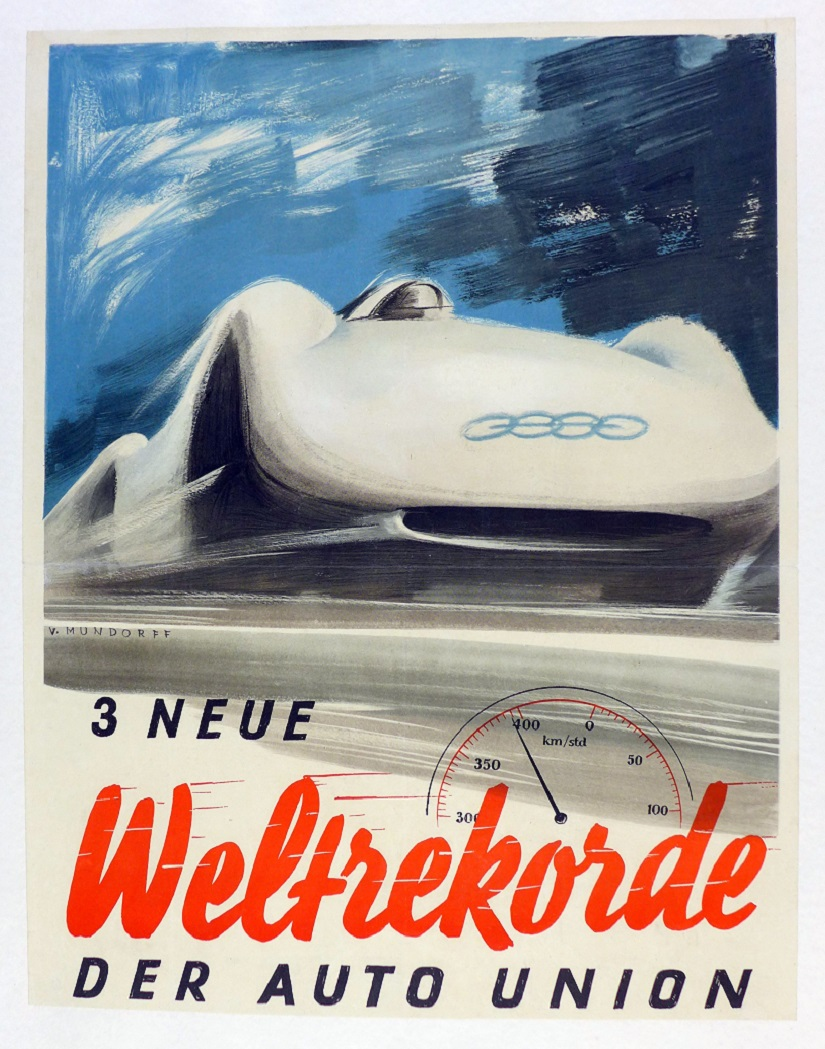 3 New World Records for Auto Union original vintage commemorative poster by Mundorff