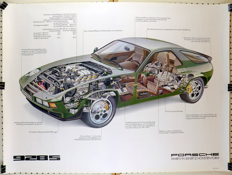 928S cut-a-way original vintage Porsche Factory showroom poster