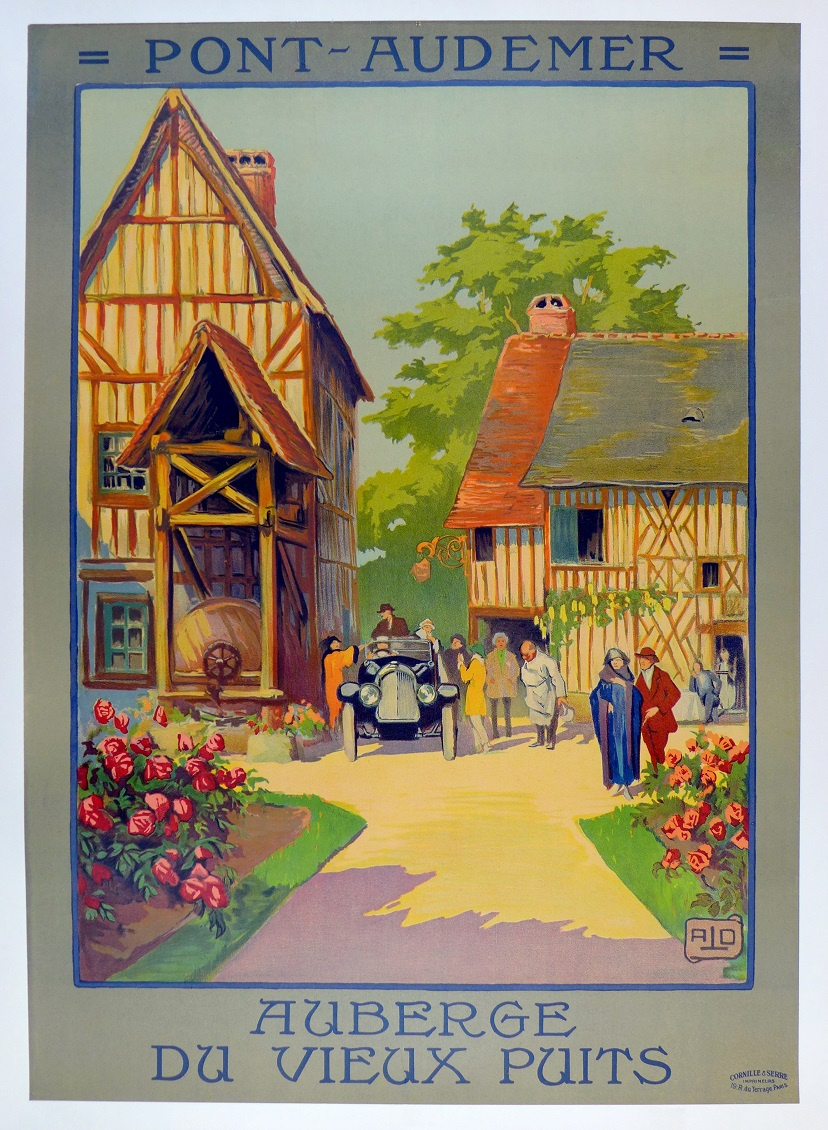 Pont Audemer original vintage French travel poster with automobile Hallo