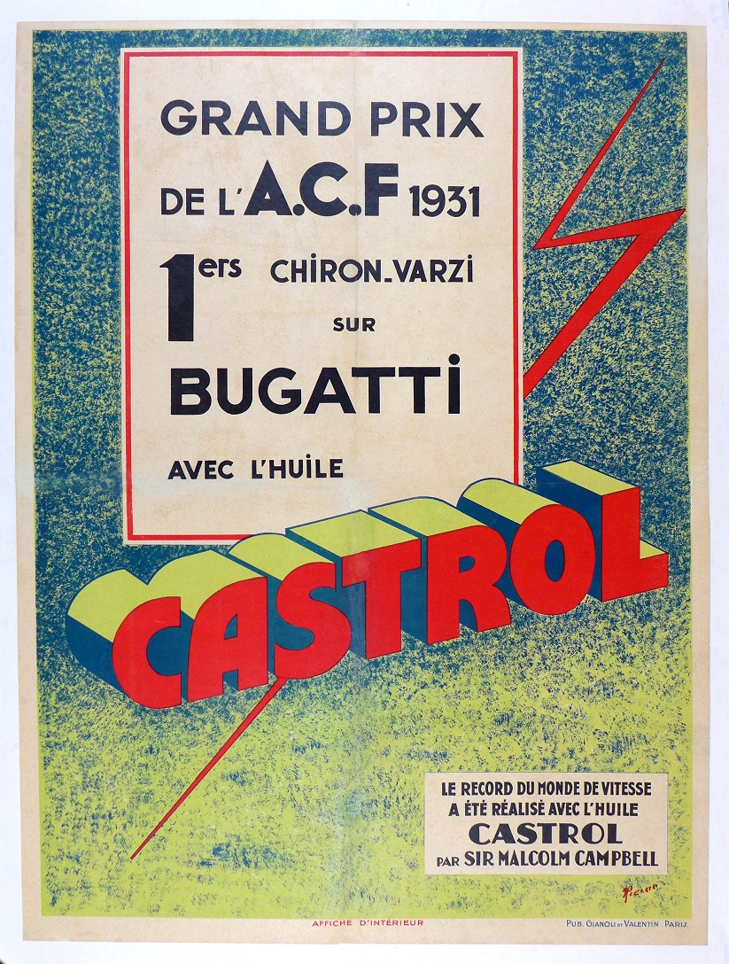Castrol ACF French Grand Prix original vintage commemorative poster