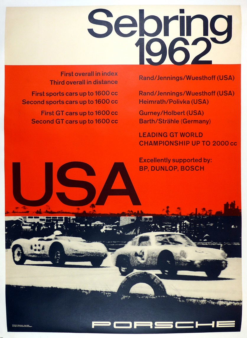 Sebring 1962 original vintage Porsche race commemorative poster Abarth Carrera