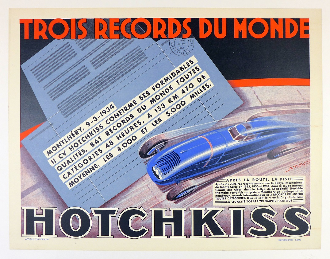 Hotchkiss 3 World Records original vintage auto advertising poster, Alexis Kow