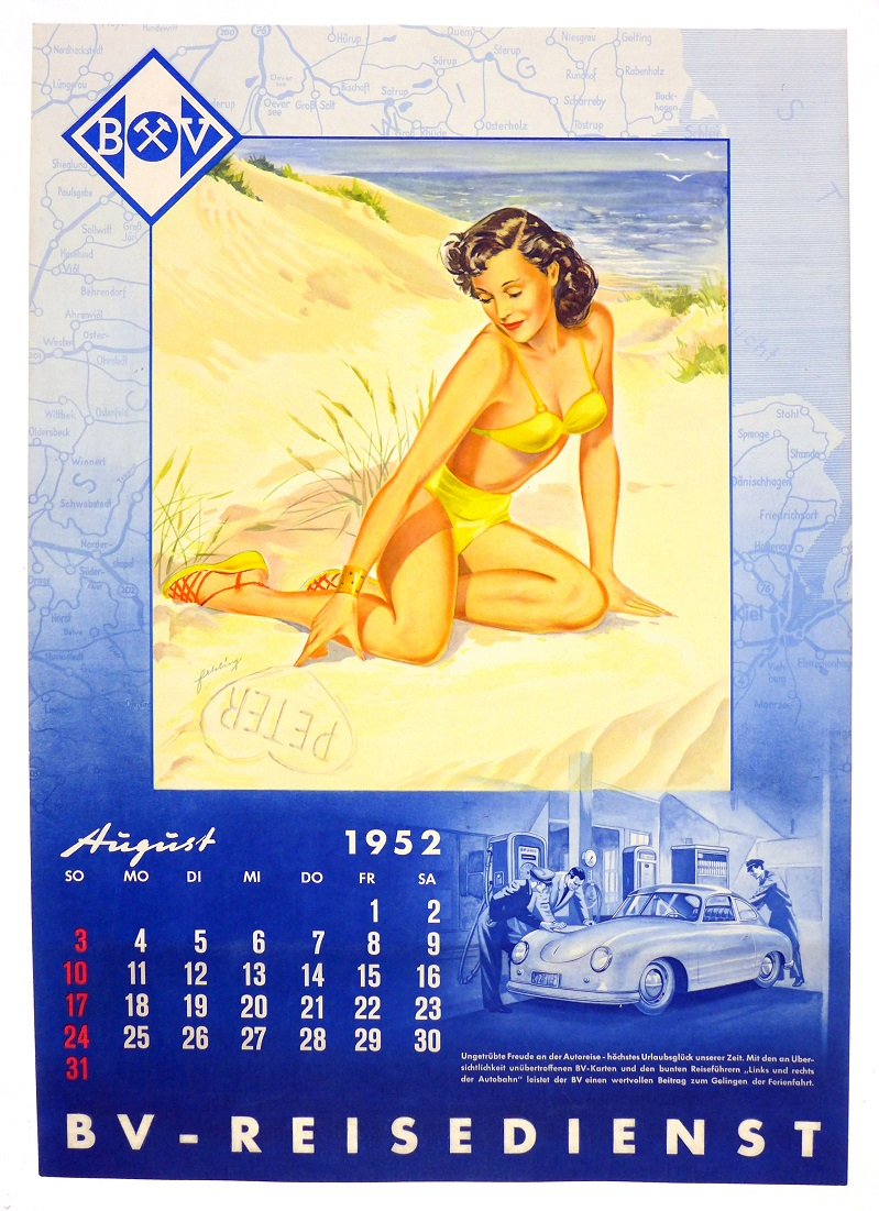 BV August 1952 original vintage auto advertising poster calendar