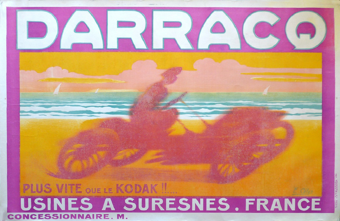 Darracq original vintage auto advertising poster by E. Celos