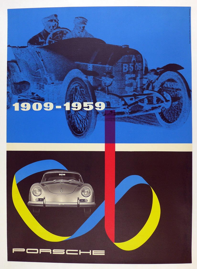 1909-1959 original vintage Porsche Factory auto showroom poster