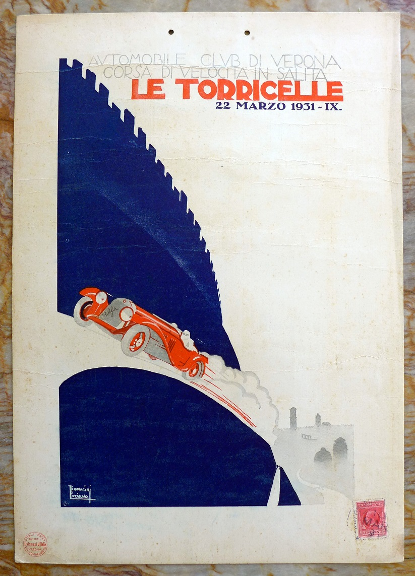 Le Torricelle 1931 original vintage auto race event window card Alfa