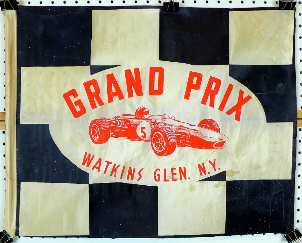 Grand Prix Watkins Glen flag original Gurney Westlake Eagle formula 1 car