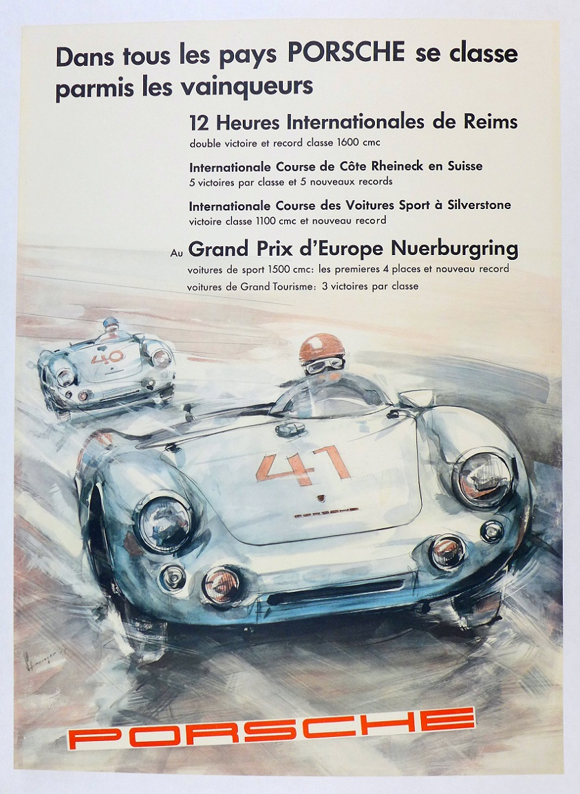 Porsche Victories in All Lands original vintage auto race commemorative poster Strenger 550 Spyder