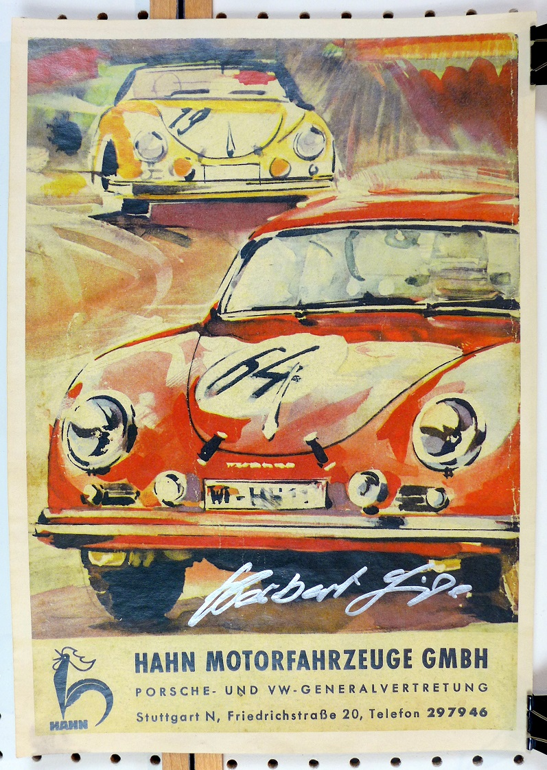 Hahn Porsche original vintage advertising poster 356