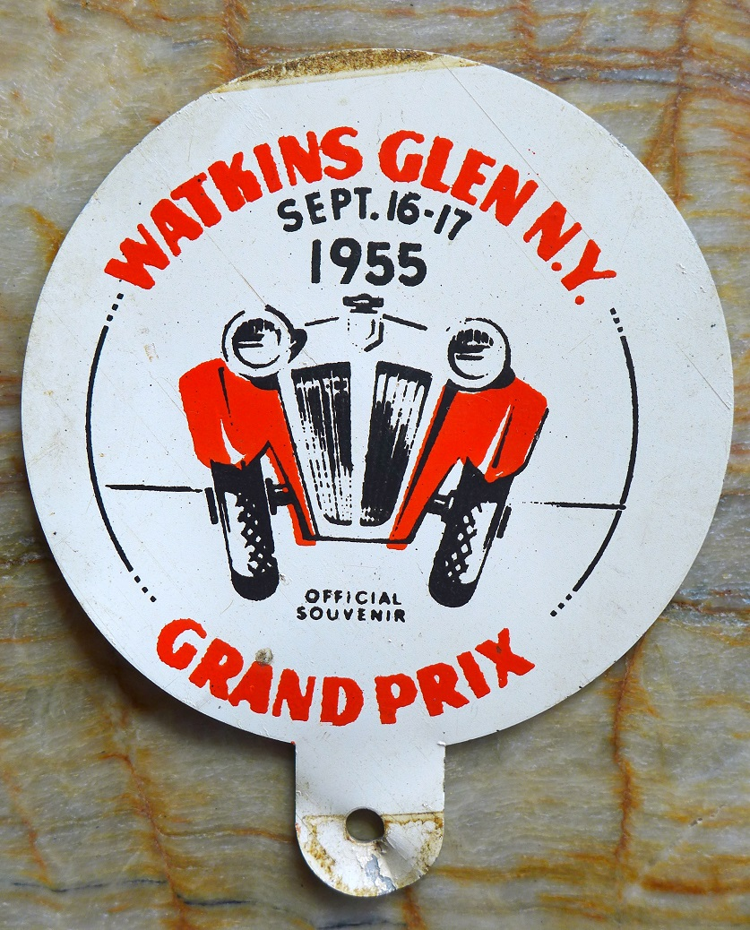 Watkins Glen 1955 Grand Prix original vintage license plate topper