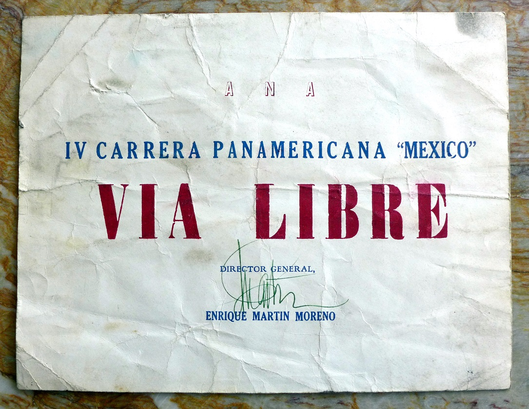 1953 Carrera Panamericana original vintage race finisher's certificate