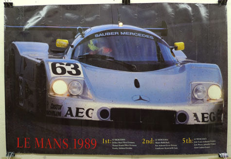 Sauber Mercedes LeMans 1989 original vintage auto racing commemorative poster