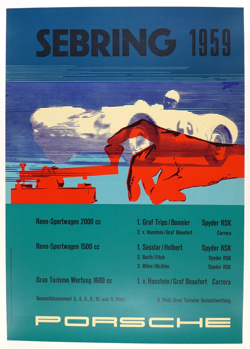 Sebring 1959 original vintage Porsche Factory race commemorative poster RSK and Carrera