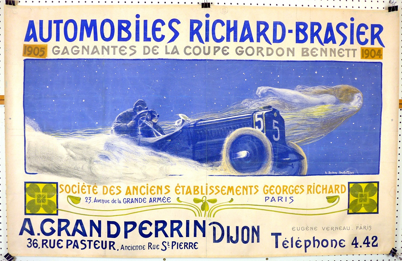 Automobiles Richard-Brasier, 1904; art by Des Fontaines, original vintage advertising poster
