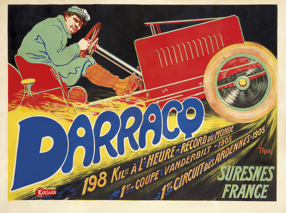 Darracq by Thor, original vintage auto commemorative poster