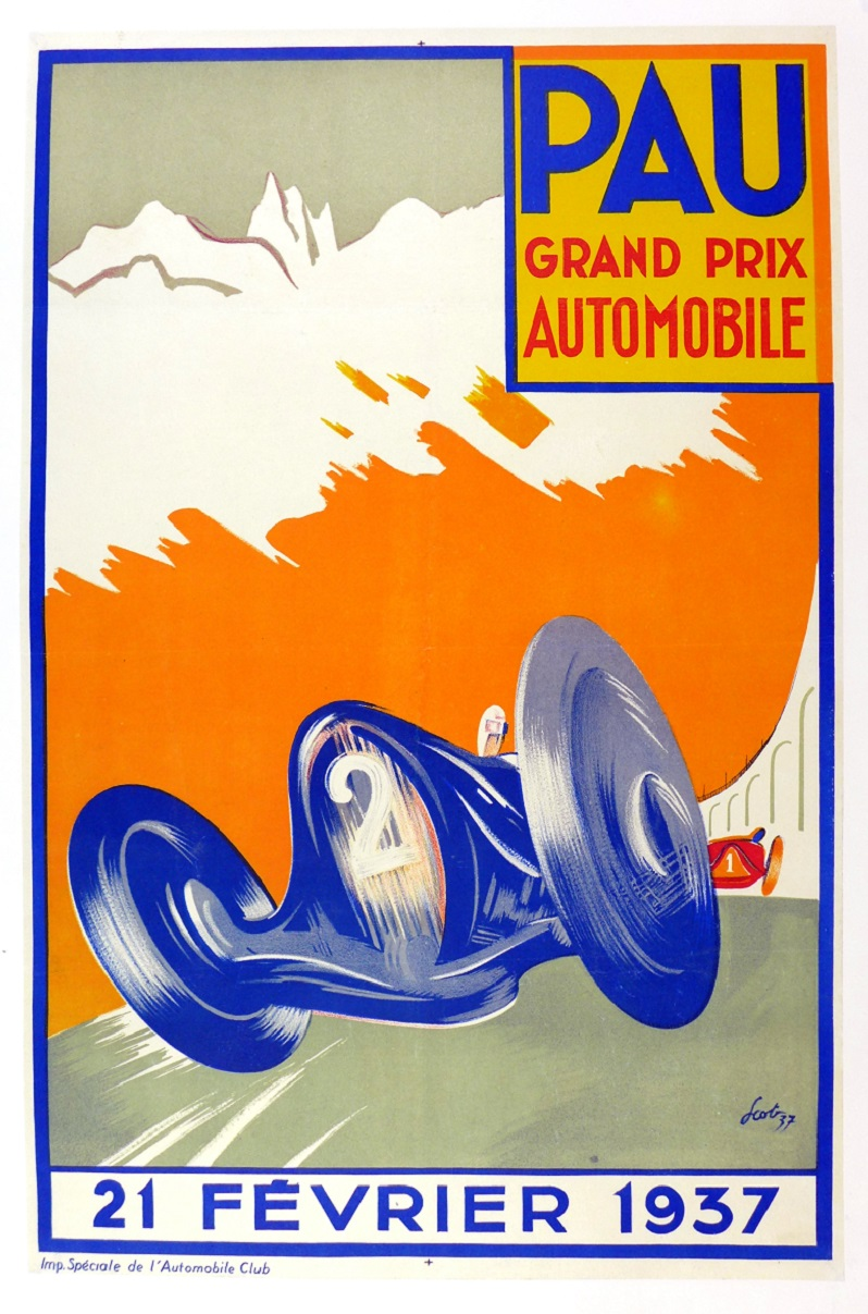 Pau Grand Prix Automobile 1937 original vintage auto race event poster