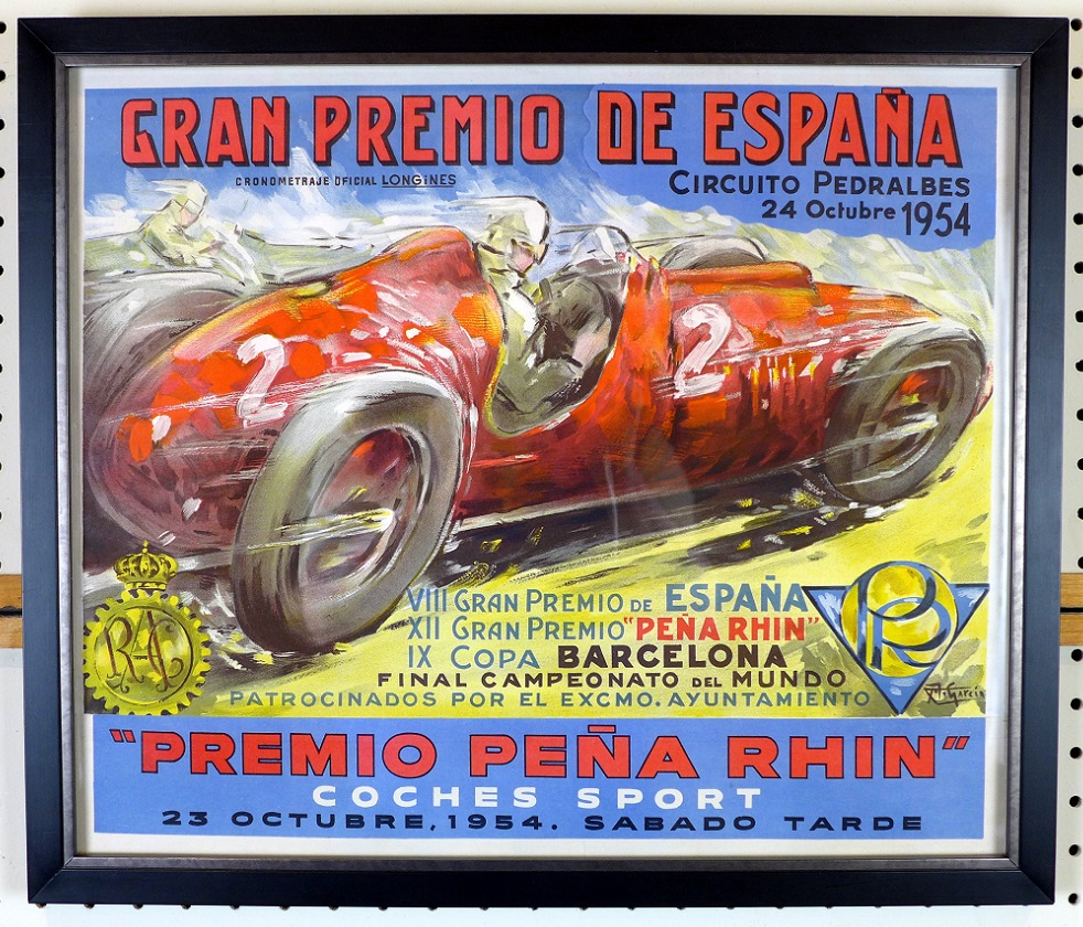 Grand Spain 1954 original vintage auto race event poster Garcia